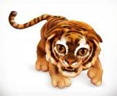 Fotografie Tiger cub. Funny animal. 3d vector icon