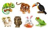 Insieme animale divertente. Icona del fumetto carattere 3d vettoriale