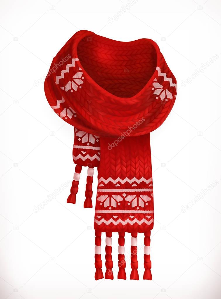 Winter scarf. 3d vector icon