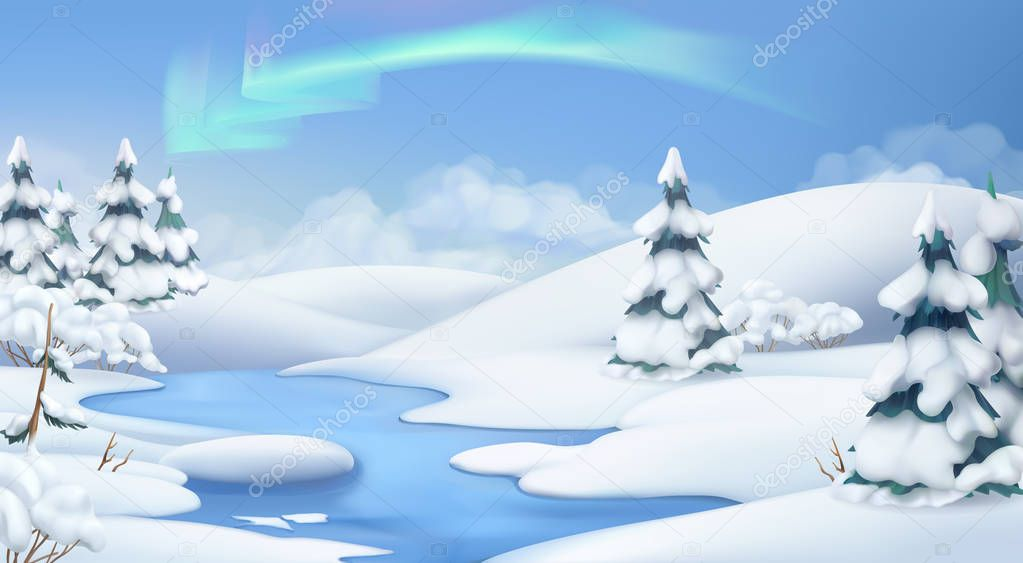 Winter landscape. Christmas background. 3d vector illustration