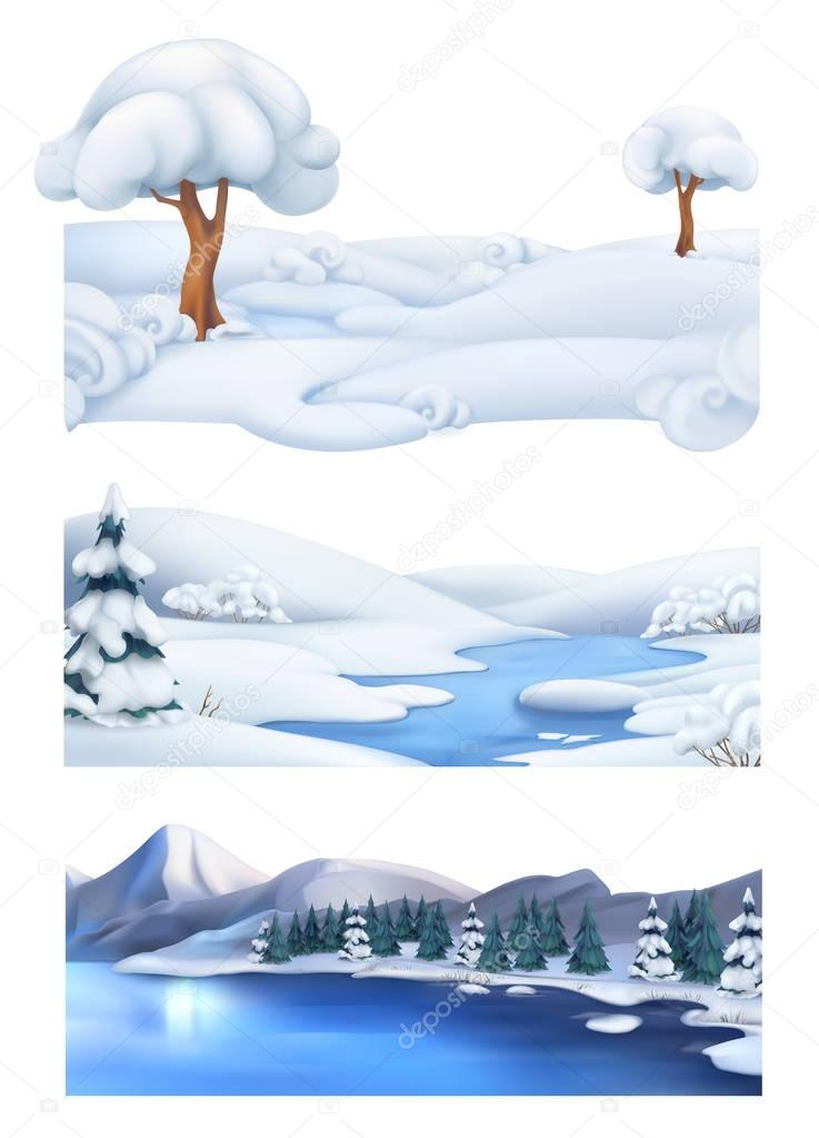 Christmas background. Winter landscape. 3d vector banner set