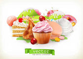 Fotografie Sweet shop. Confectionery and desserts, cake, cupcake, candy, caramel. 3d vector illustration