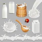 Fotografie Milk. Bottle, glass, spoon, bucket