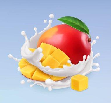 Mango and milk splash. Fruit and yogurt. Realistic illustration. 3d vector icon