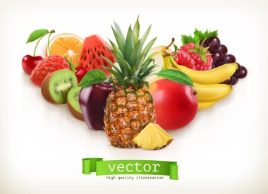 Pineapple and juicy fruits, vector illustration isolated on white