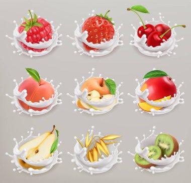 Fruit, berries and yogurt. Strawberry, raspberry, cherry, pear, peach, apple, mango, kiwi, grain. 3d vector icon set 1