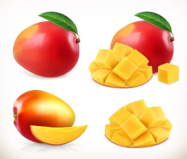 Mango. Whole and pieces. Sweet fruit. 3d vector icons set. Realistic illustration