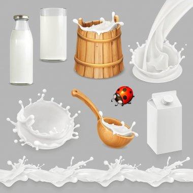 Milk. Bottle, glass, spoon, bucket