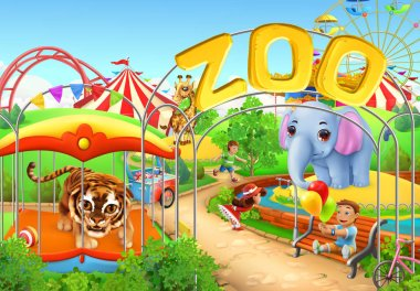 Zoo. Kids playground. Amusement park