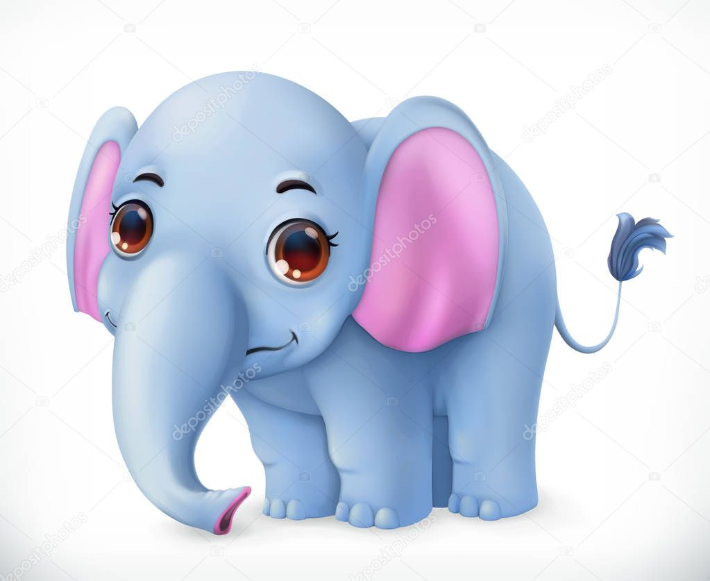 Cute baby elephant cartoon character. Funny animals 3d vector icon
