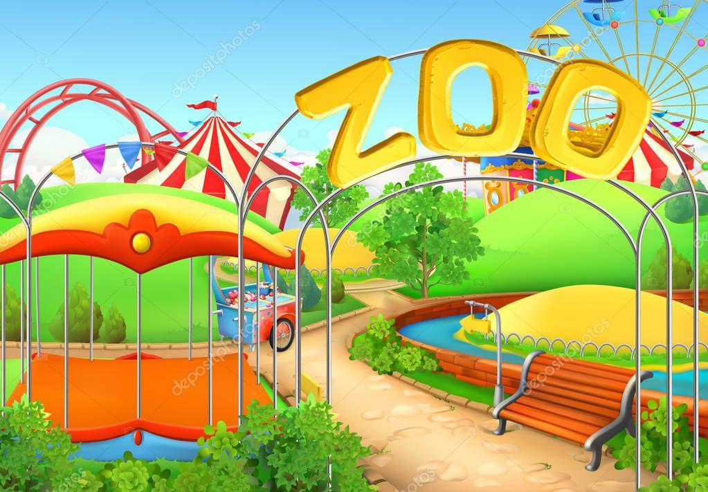 Zoo, vector background. Amusement park. Children playground