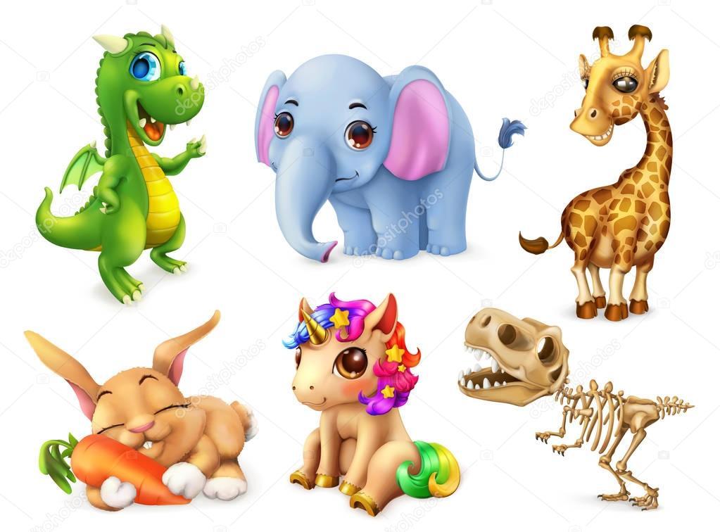 Funny animal set. Happy bunny, rabbit, cute unicorn, small dragon, baby elephant, giraffe, dinosaur. 3d vector icon
