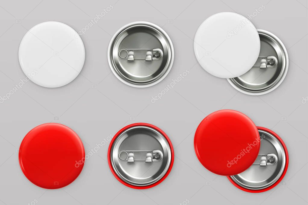 Blank white and red badges