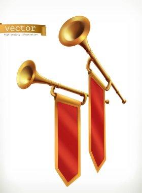 Fanfare. Gold trumpets