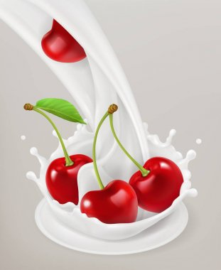 Milk splash and cherries