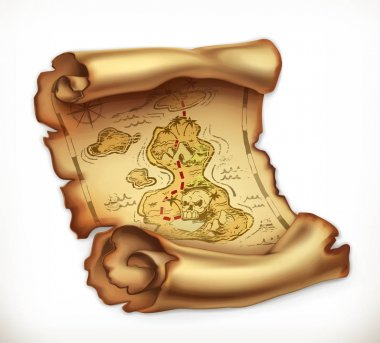 Old map, treasure island