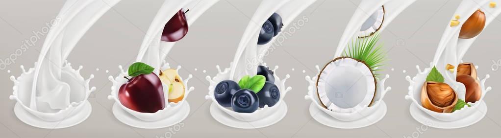 Fruits, berries and yogurt