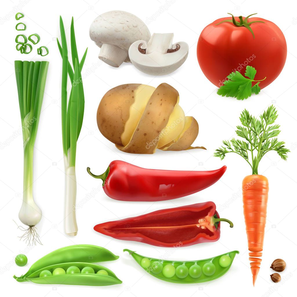Realistic vegetables icons set