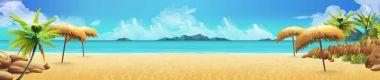 """Картина, постер, плакат, фотообои """"морская панорама, тропический пляж. векторный фон """", артикул 145686173"""