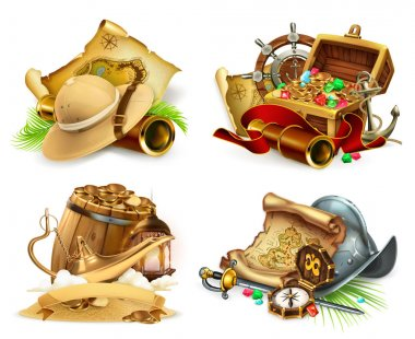 Treasure hunt and adventure, game logo. 3d vector icon set