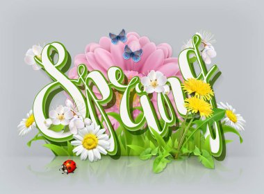 Spring lettering. Grass and flowers. 3d vector icon