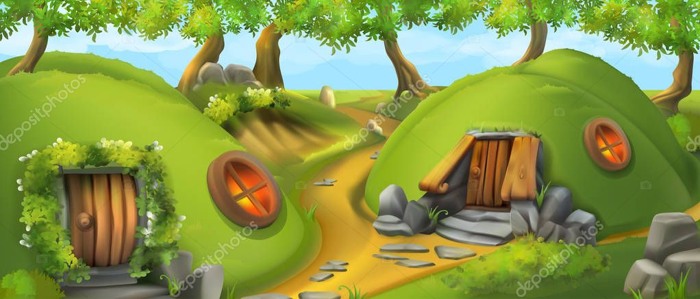 Fairy Tale Village. Leprechaun house. Nature landscape vector illustration