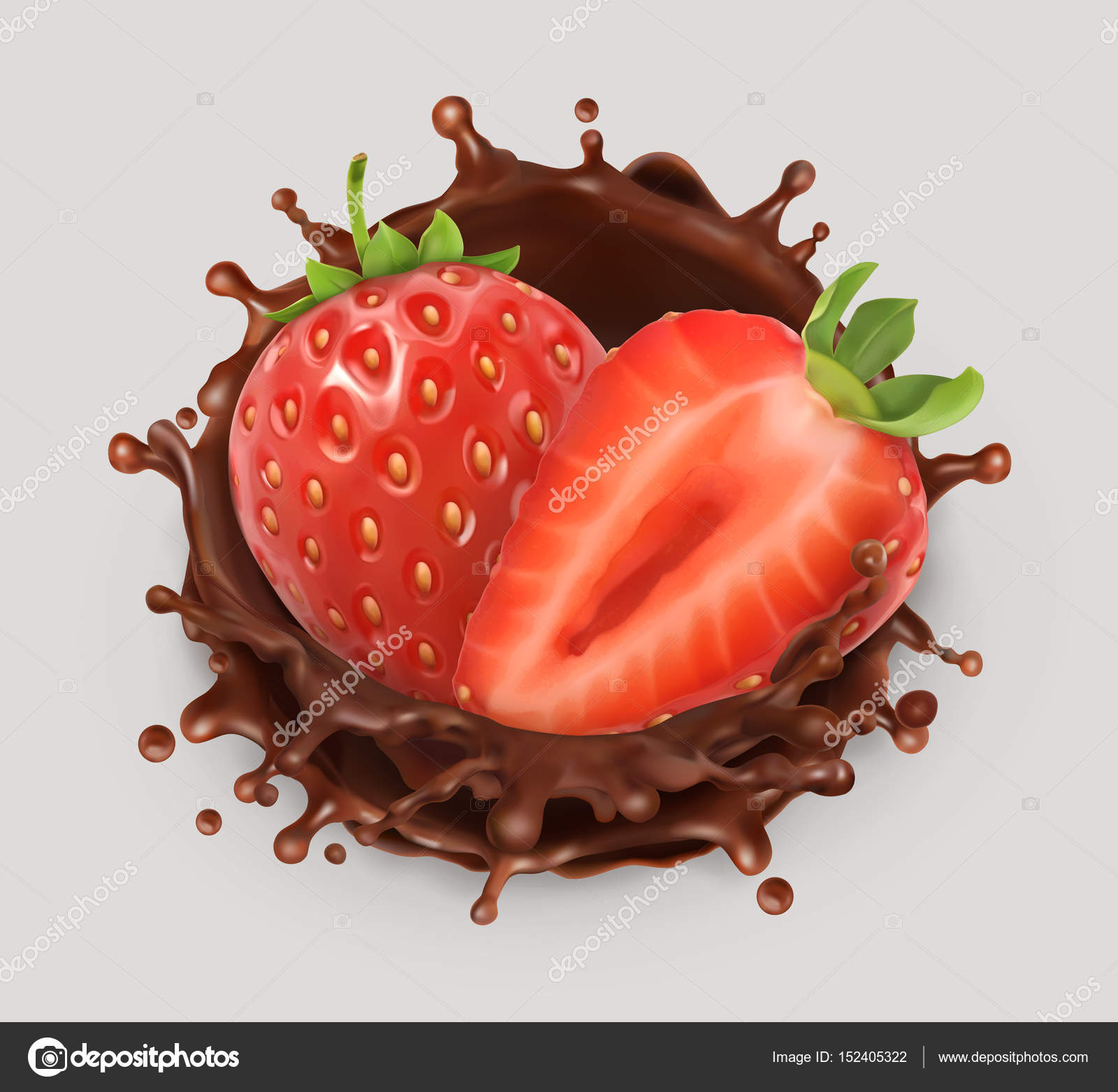 Splash de fresa y chocolate. Ilustración realista. 3D icono vector ...