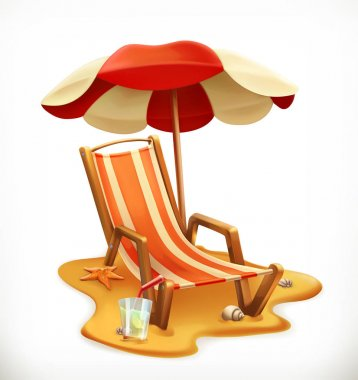 Beach umbrella and lounge chair, 3d vector icon