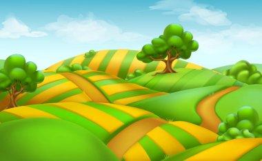 Farm field landscape. 3d vector background