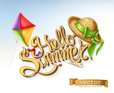 Hello summer lettering, vector illustration