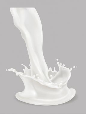 Milk splash. 3d vector icon