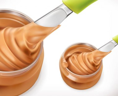 Peanut butter, 3d vector icon