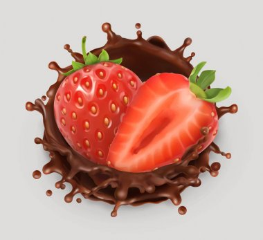 Strawberry and chocolate splash. Realistic illustration. 3d vector icon clip art vector