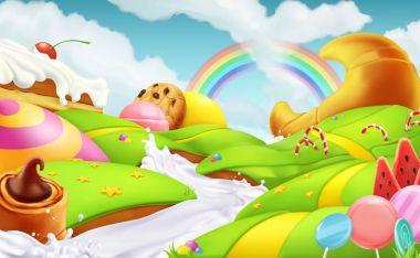 Sweet landscape. 3d vector background