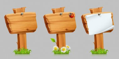 Wooden sign set. 3d vector icon set