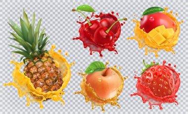 set of various fruits in splash