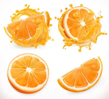 Orange juice. Fresh fruit and splashes. 3d realism, vector icon set