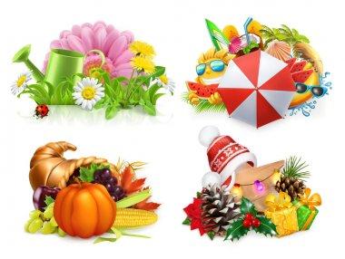Spring, Summer, Autumn, Winter. Four seasons concept, 3d vector set