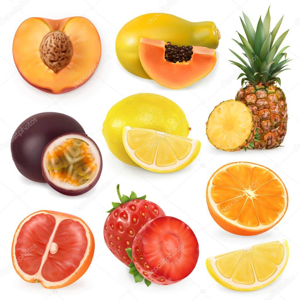 Juicy ripe sweet fruit. 3d realism, vector icon set clipart vector