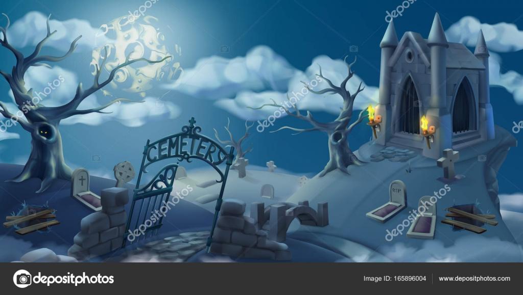 Cementerio, Fondo De Halloween. Panorama De Paisaje De