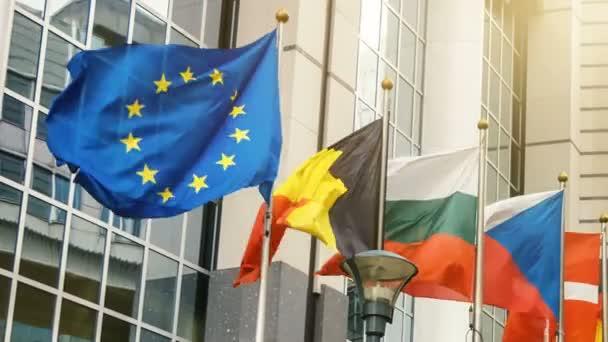 EU members flags in front of European Parliament building