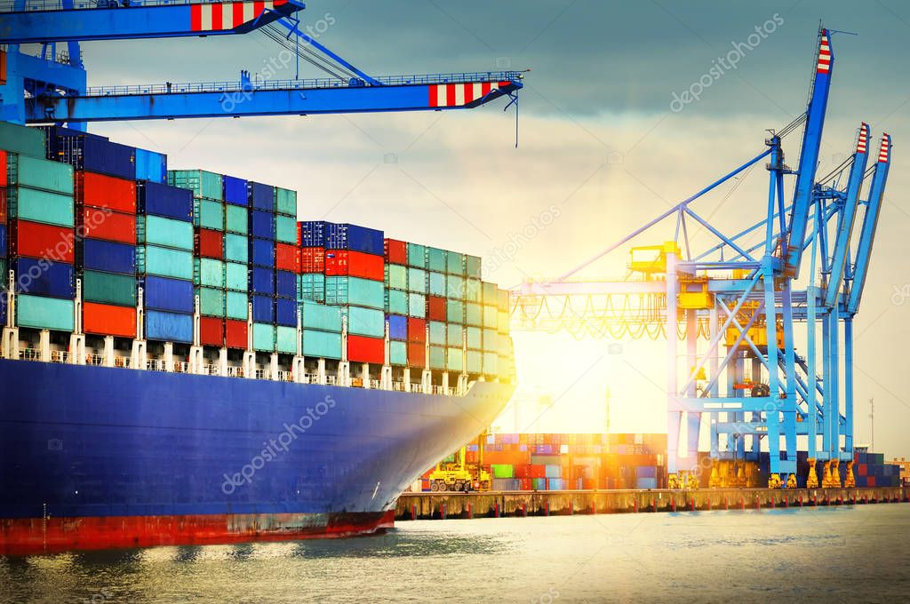 Container ship full of cargo