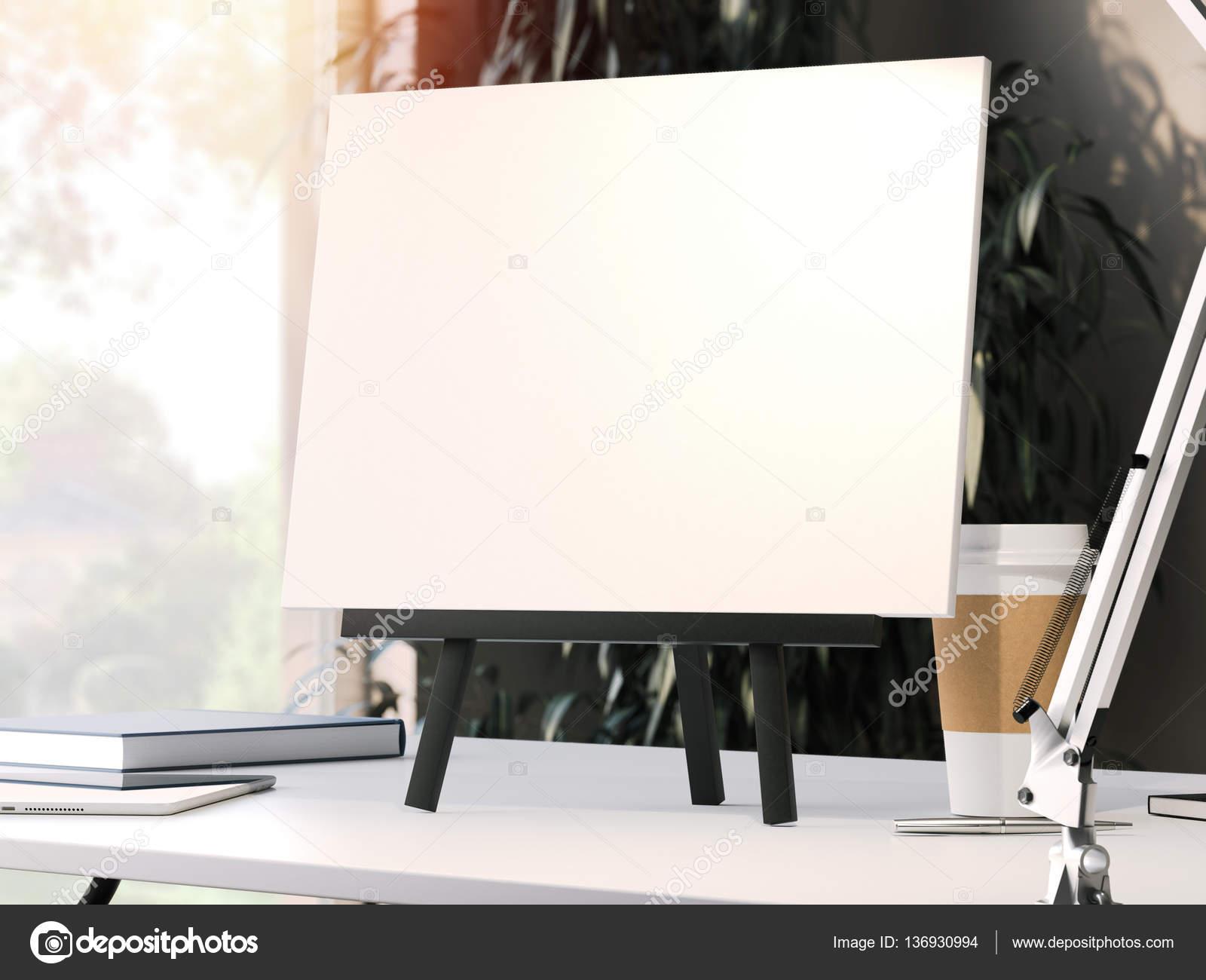 Caballete negro con marco en blanco. Render 3D — Foto de stock ...