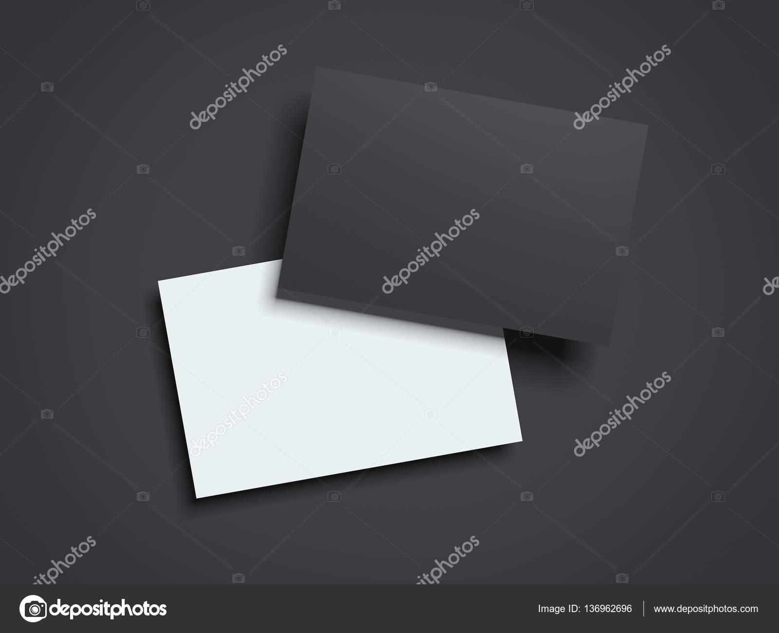Cartes De Visite Noir Et Blanc Sur Un Sol Fonc Rendu 3D Image Ekostsov