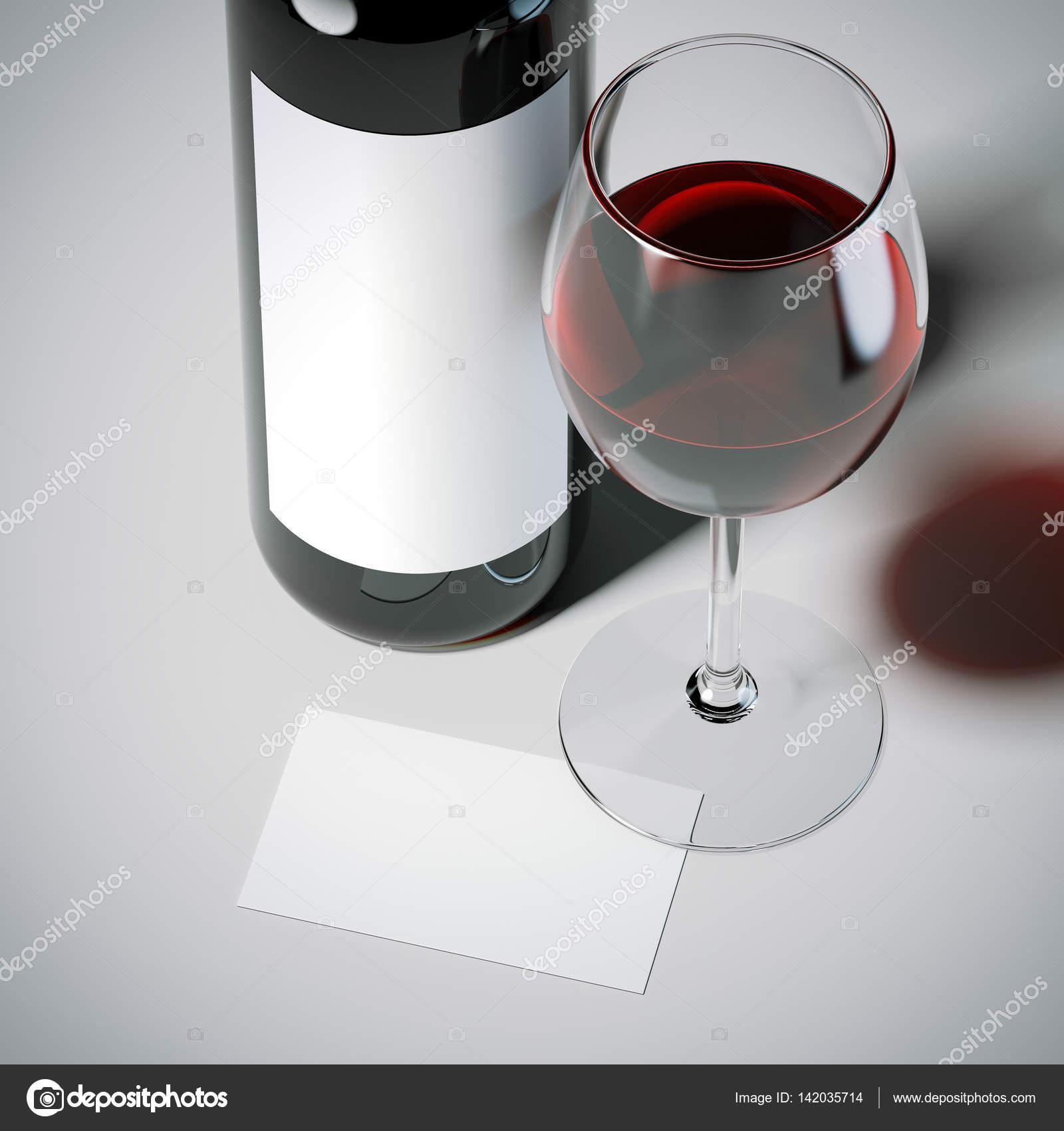 Carte De Visite Avec Bouteille Vin Rouge Et Le Verre Blanc Etage Rendu 3D Image