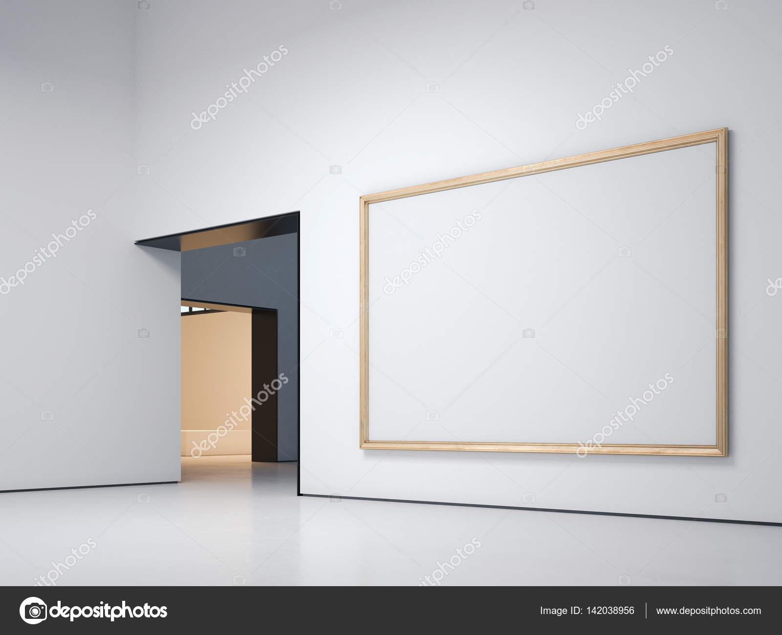 Galería blanca con marco de oro. Render 3D — Fotos de Stock ...