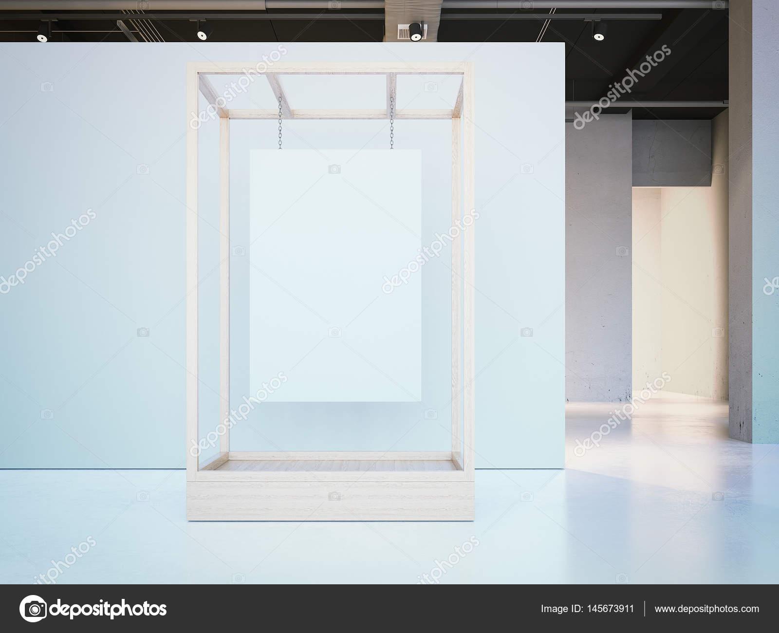 Weißes Plakat hängen in einer Holz Vitrine. 3D-Rendering — Stockfoto ...