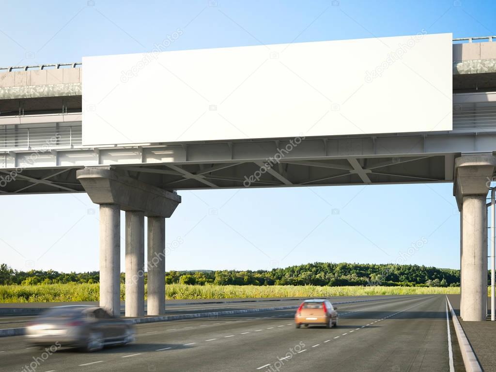 Blank highway billboards. 3d rendering