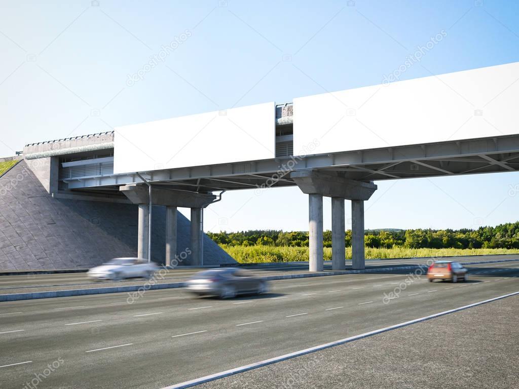 Two highway billboards. 3d rendering