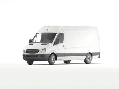 White industrial van. 3d rendering